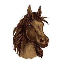 Brown mustang horse artistic portrait vector image
