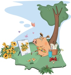 cute pig artist paints picture Cartoon vector image vector image