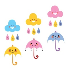 Cute umbrellas raindrops clouds characters vector