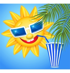 Funny sun drinking cool drink from straws vector image