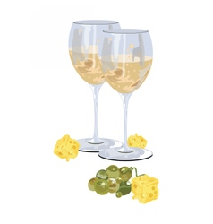 Glasses of white wine with grapes vector