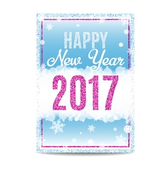 Happy new year 2017 greeting card pink text and vector