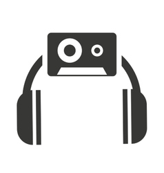 headset silhouette with audio icon vector image vector image