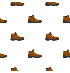 Hiking boot pattern flat vector