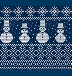 Knit christmas design with snowmen and snowflakes vector