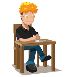 Man Writing Table Thinking Idea vector image
