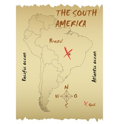 Map of the South America vector image vector image