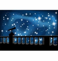 Night sky and telescope vector