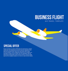 poster template with plane taking off vector image vector image