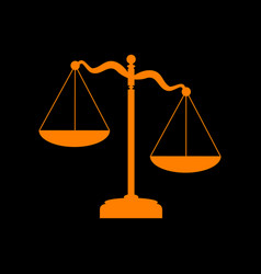 Scales of justice sign orange icon on black vector