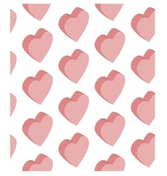 seamless pattern isometric hearts pink vector image