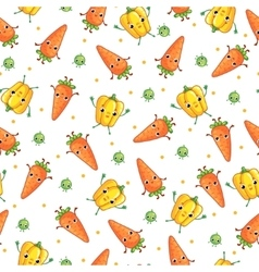 Seamless pattern with cute vegeables vector