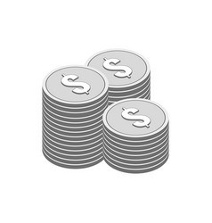 Stacks of silver coins symbol flat isometric icon vector