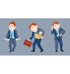 three of a businessman in sad situation vector image
