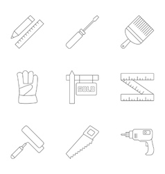 Tools icons set outline style vector