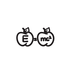 Two apples with formulae sketch icon vector
