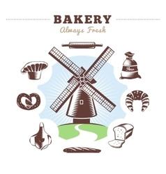 Vintage bakery element set vector