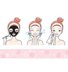 Young Woman With Facial Mask Step vector image vector image