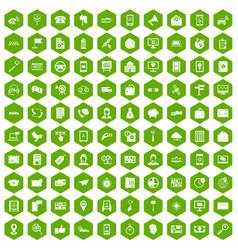 100 smartphone icons hexagon green vector