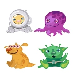Four funny bizarre alien fictional characters vector