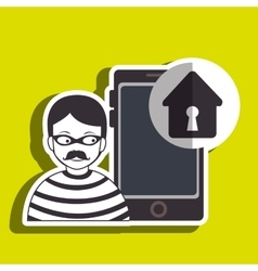 Smartphone security protection hacker vector
