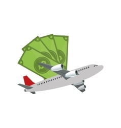 Money bills and airplane icon vector
