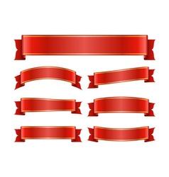 Red ribbon banners set silk vector