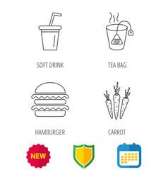 hamburger tea bag and soft drink icons vector image