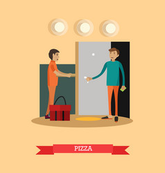 Pizza delivery in flat style vector