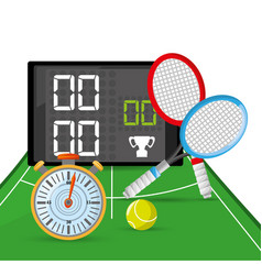 Chronometer to tennis competition and poins game vector