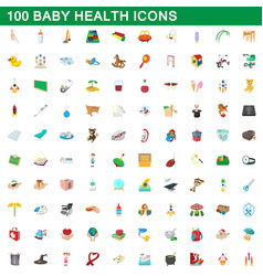 100 baby health icons set cartoon style vector