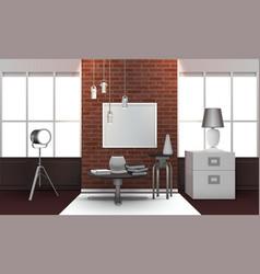 Realistic loft interior vector