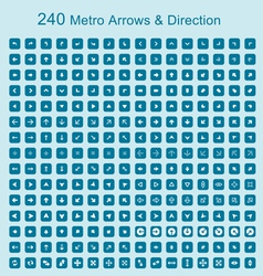 240 metro arrows and directions on blue buttons vector image vector image