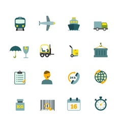 Logistic icons set flat vector