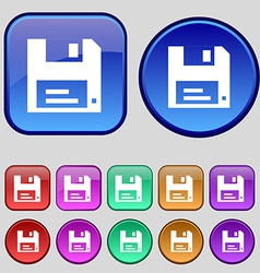 Floppy icon sign a set of twelve vintage buttons vector