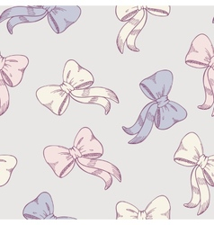 Seamless pattern with sketched bows in pastel vector