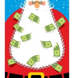 Santa Claus Beard money Christmas wealth New years vector image