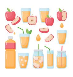 apple juice flat icons set vector image
