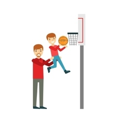 Boy and father playing basketball happy family vector