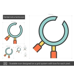 Dental instruments line icon vector image