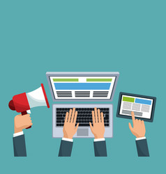 digital marketing hands business device vector image vector image