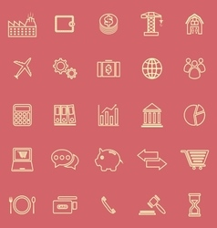 Economy line color icons on red background vector
