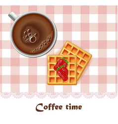 fresh coffee cup and waffles breakfast vector image vector image