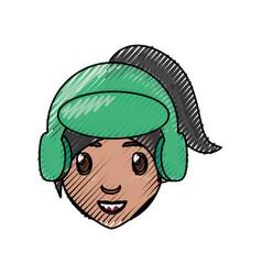 girl face cartoon vector image