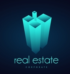 Glowing blue real estate logo icon design vector