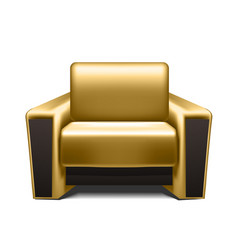 Gold leather armchair vector