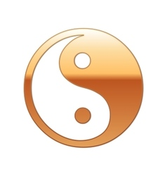 Gold yin yang symbol icon on white background vector