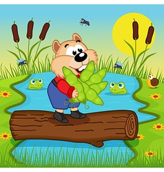 Hamster with peas cross the river vector