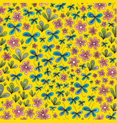 Hand drawn summer floral pattern abstract vector