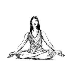 hand sketch meditating woman vector image vector image